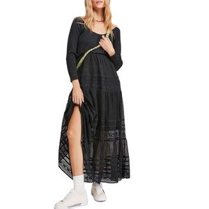 NWT free people earth angel black maxi dress med